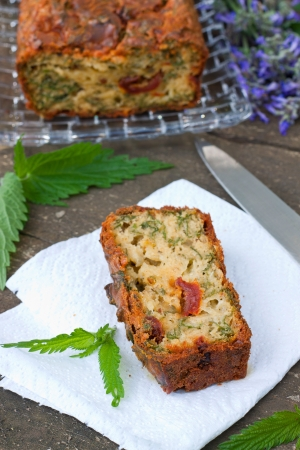 Vegetable cake  with  herbs on wooden background, shallow depth of field