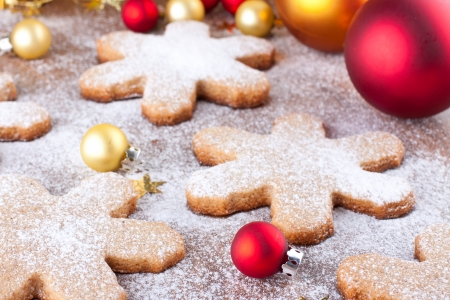 Homemade christmas cookies with bright baubles Stock Photo - 22999281