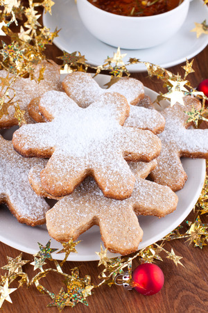 Plate of traditional gingerbrad cookies with christmas decoration Stock Photo - 22999289