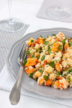 Pumpkin salad with couscous and chickpeas