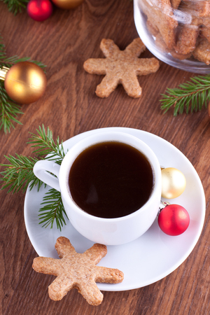 Cup of coffe and cookie with christmas decorations Stock Photo - 23859862