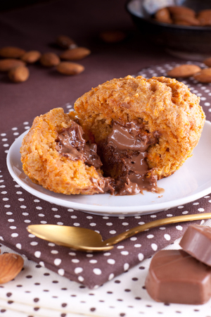 Pumpkin muffin with melting chocolate filling Stock Photo