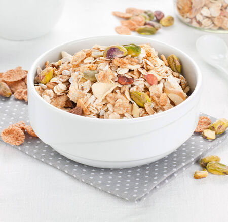 Close up of bowl full of muesli with nuts