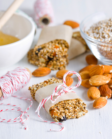 Close up of an amaranth sweet bar with almonds Stock Photo