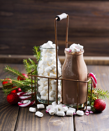 christmas food: Bottle of delisious cacao  with Christmas decorations around it