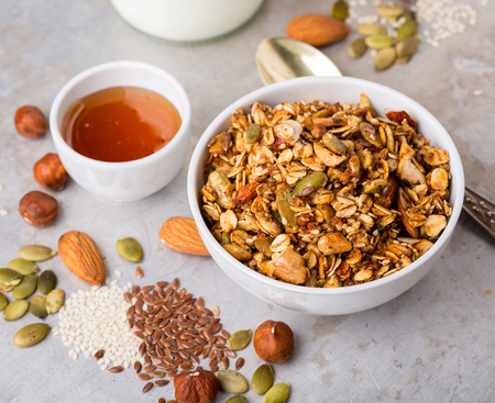 nutty: Delicious nutty granola served with honey