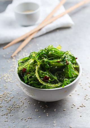 Small bowl full of wakame salad Stock Photo