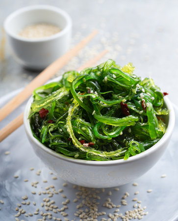 Traditional japanese  wakame salad with sesam