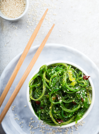 Healthy nutritious salad with seaweed Stock Photo