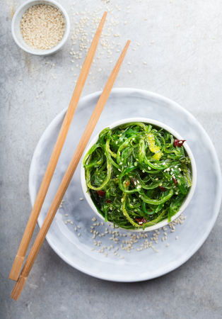Serving of delicious japanese seaweed salad Stock Photo