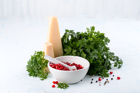 Some fresh green parsley and ripe pomegranate  seeds