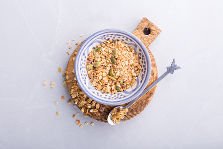 Overhead shot of a portion of muesli Stock Photo