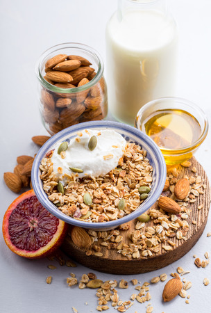 Homemade healthy granola served with yogurt and honey