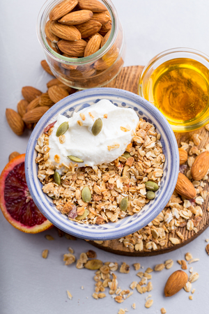 Homemade granola with almonds and honey