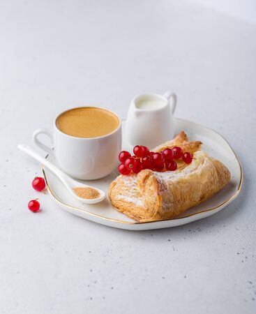 Fresh bakery with coffee for breakfast