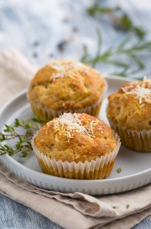 CLose up of a cheese and courgette muffin