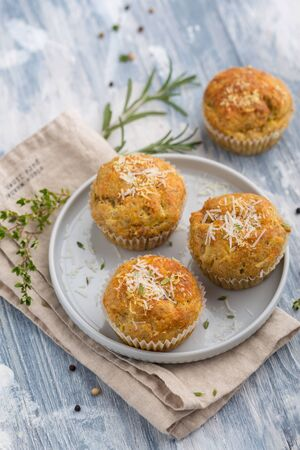 Delicious vegetable muffins with cheese and herbs Stok Fotoğraf