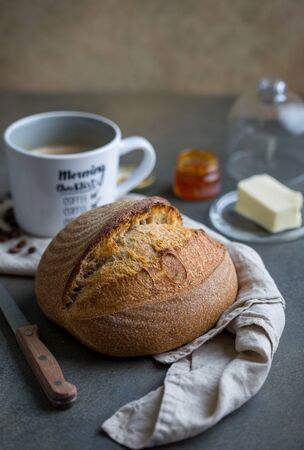 Homemade round loaf of bread