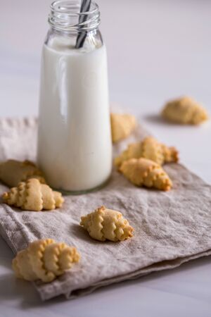 Small crescent shaped cookies, selective focus