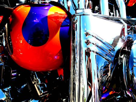 Close up of a painted custom chopper Stock Photo - 2649202