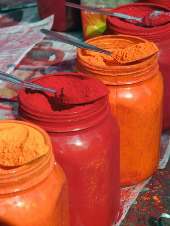Colored powders for brides at a roadside market in Kolkata, India