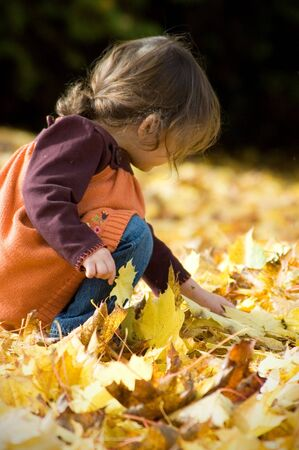 Young girl in an orange sweater and jeans playing in the fall leaves