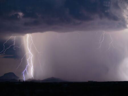 Lightning striking the ground during a nighttime storm Stock Photo - 2650651