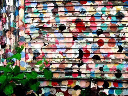splotches: Circular paint splotches on an old siding Stock Photo