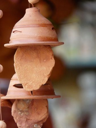 Terracotta wind chimes hanging in a stall at the Kalighat Market in Kolkata (Calcutta) India Stock Photo - 2650806