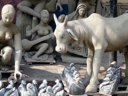 Clay statues on the street at the Kalighat Market in Kolkata (Calcutta) India Stock Photo - 2650980