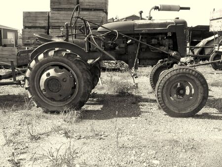 Black and white photograph of a vintage tractor Stock Photo - 2651120