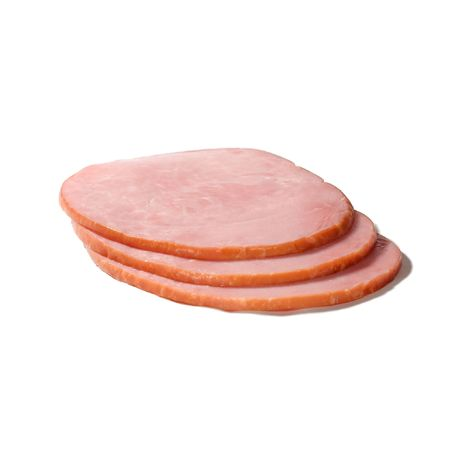 Slices of ham isolated against a white background Reklamní fotografie