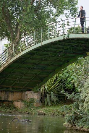 Latin american empresario de pie en un arco puente sobre un río abajo  Foto de archivo - 2953867