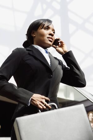 Young attractive businesswoman talking on her cellphone, holding a briefcase. Vertically framed shot