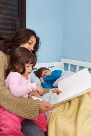 Mother reading her children bedtime stories. Her daughter is sitting on her lap and her son is lying in bed.
