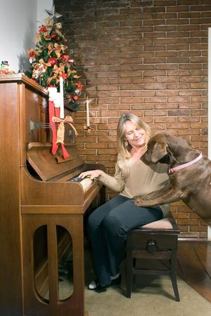 curiously: Older woman sitting at an upright piano at Christmas time getting ready to play while the  dog looks on curiously