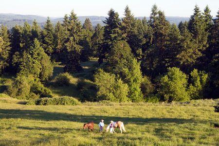 Twee mensen die hun paarden heerst, praten in een weide van gras, met bomen. - Horizontaal omlijst
