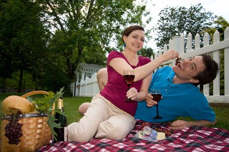 joking: A couple toasting wine glasses on a picnic spread.  They are joking with each other and she is feeding him grapes. Horizontally framed shot.