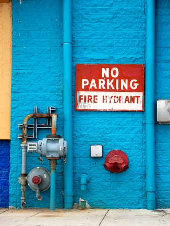 No parking sign next to a fire hydrant.  Vertically framed shot. photo