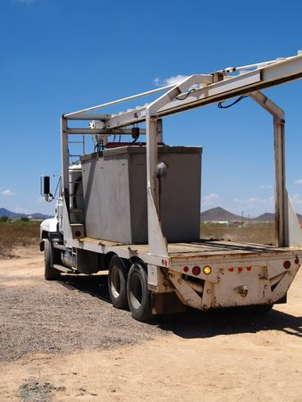 Large semi truck on a construction site. Vertically framed photo. Stock Photo - 3447571