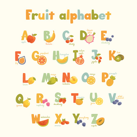 bright alphabet: Full vector cute cartoon tasty alphabet for kids in bright colors. Educational poster for school and home. Big healthy fruit collection.