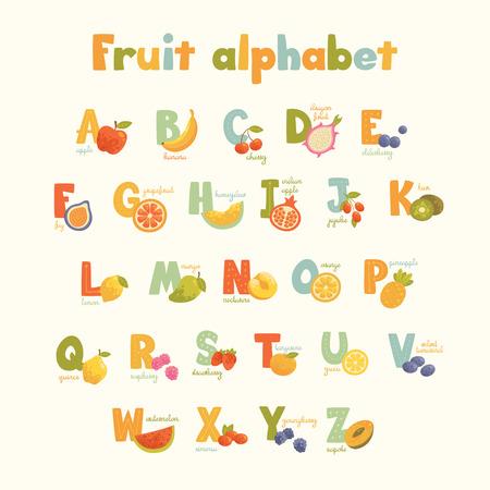 Pełna wektor ładny kreskówki smaczne alfabetu dla dzieci w jasnych kolorach. Plakat edukacyjny do szkoły i domu. Duża kolekcja zdrowych owoców.