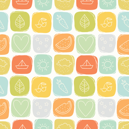 watermelon boat: Cute seamless vector summer pattern Illustration