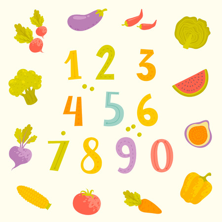 numerals: Vector cartoon fruits and vegetables numerals for kids