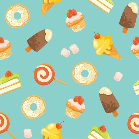 yum: Seamless vector candies pattern. Illustration