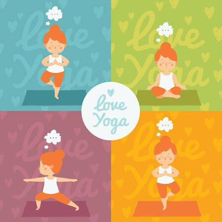 yoga girl: Vector yoga set. Colorful cards with cute redhead girl and her healthy practice. Warrior pose, tree pose and lotus pose.