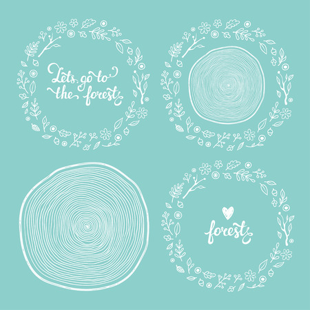 flower leaf: Vector forest frames set. Leaves, flowers, tree branches, acorns, berries and wood cut. Lovely lettering.