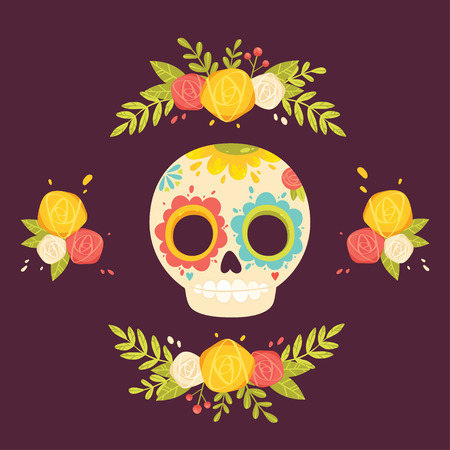 calavera: Day of the dead colorful illustration. Mexican sugar skull and flowers. Calavera card.