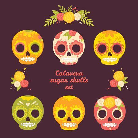 dode bladeren: Dag van de doden kleurrijke verzameling van schedels. Mexicaanse suiker schedels en bloemen. Calavera ingesteld. Stock Illustratie