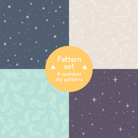 pastel backgrounds: Vector set of four cute seamless patterns. Simple pastel sky textures with stars and constellations. Seamless pattern can be used for wallpapers, pattern fills, web backgrounds, surface textures.